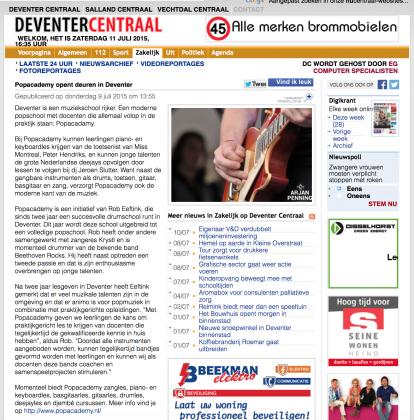 Deventer Centraal Popacademy opent deuren nieuws
